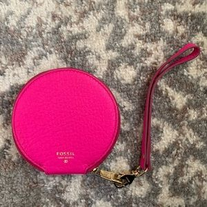 NWOT pink fossil coin pouch wristlet